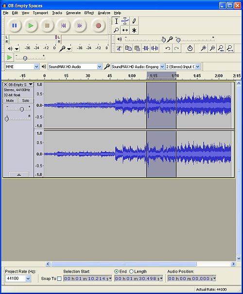 Screenshot von Audacity