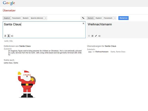 Ausschitt aus Google Translate mit einem Weihnachtsmann