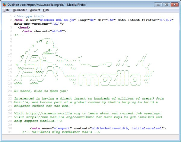 Ausschnitt aus dem Quelltext mit der Grafik des Drachen
