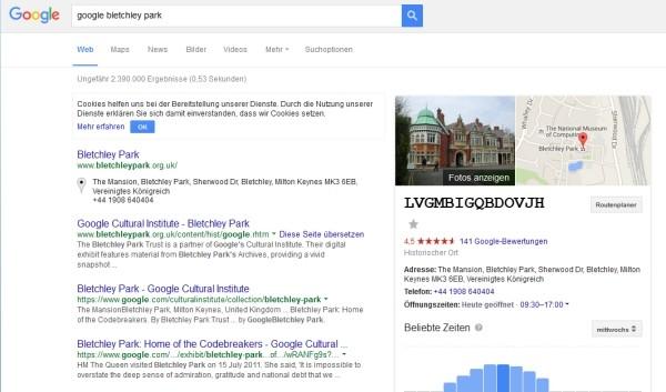 Screenshoot der Googleseite mit verschlüsseltem Text