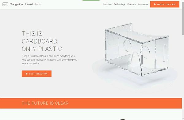 Screenshot der Webseite zu Google Cardboard Plastic