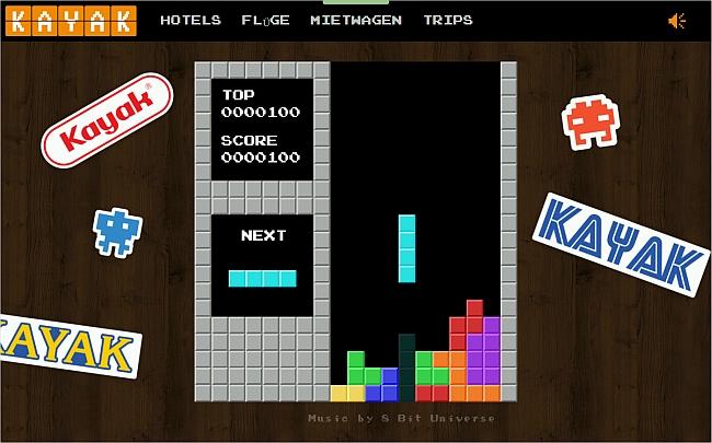 Tetris auf der Webseite von Kajak