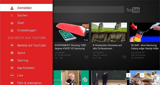 Youtube Oberfläche mit Auswahl Menü