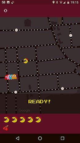 Das Spiel Pacman in Google Maps