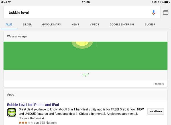 Wasserwaage in der Google App auf dem iPad