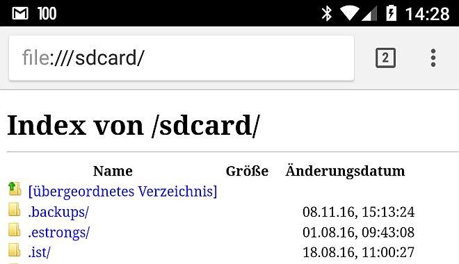 Dateibrowser im Chrome fürs Handy