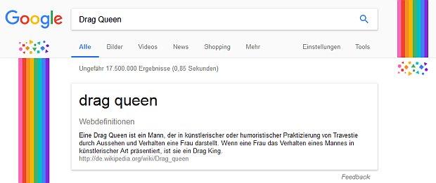 Google Suchergebniss im Pride Monat