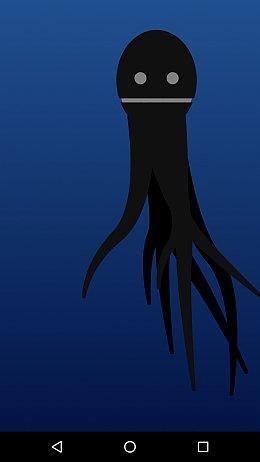 Ein schwarzer Krake auf blauem Grund