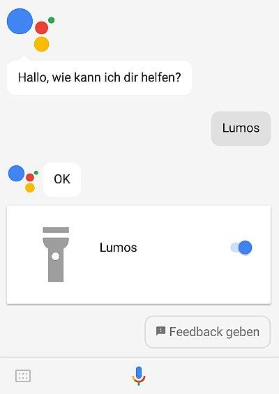 Lumos - schaltet die Taschenlampe ein