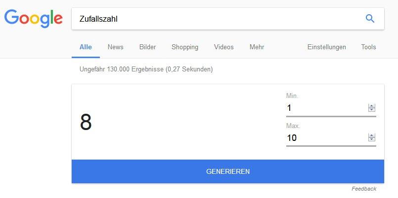 Google Suche nach Zufallszahlen