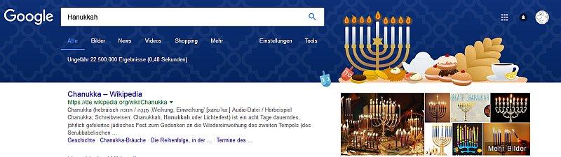 Hanukkah Fest 2017 in der Googlesuche