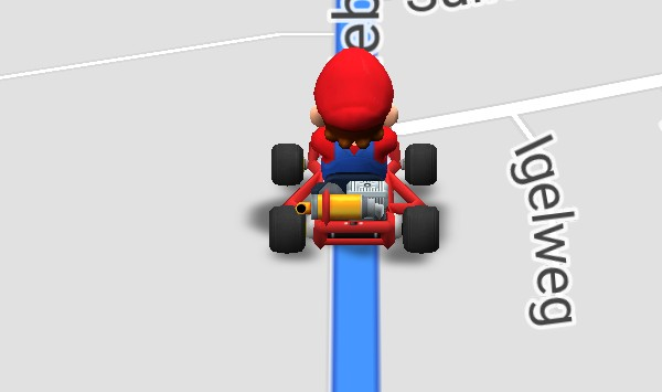 Mario Auto statt langweiligem Pfeil.