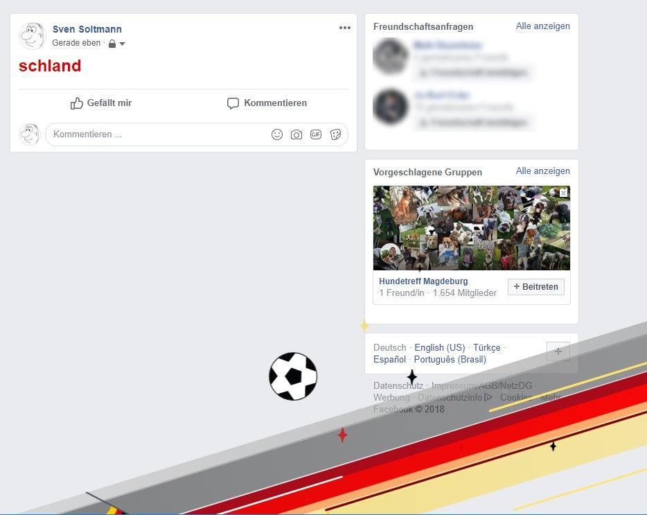 Facebook mit Animationen zur Fußball WM 2018