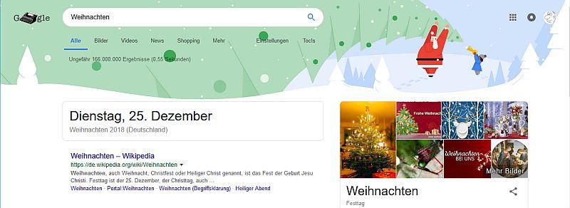 Weihnachtsdeko in der Googlesuche