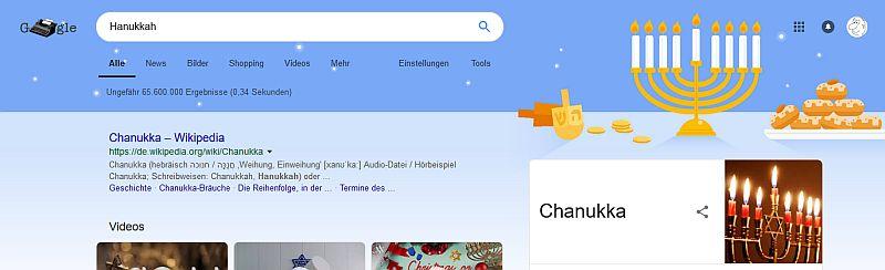 Die Google Suche zum Hanukkahfest 2018