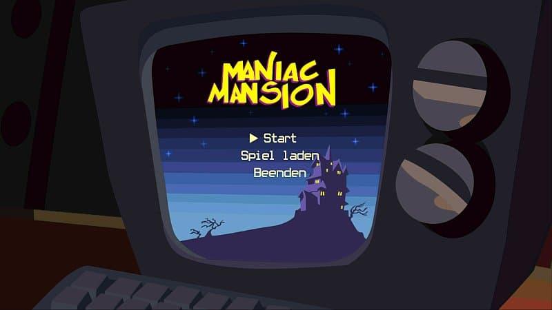 Computerbildschirm mit Spiel Maniac Mansion