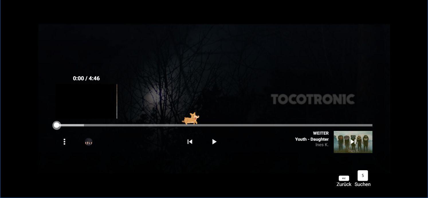 Ein kleiner Corgi-Hund läuft auf der Timeline