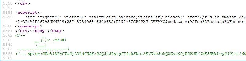 Eine Ente im Quelltext der Amazon-Webseite