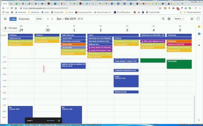 Kalenderansicht als Spielfeld