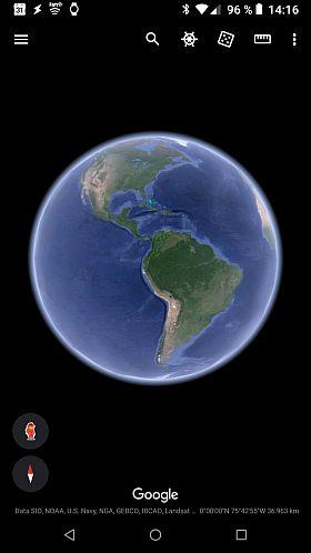 Startseite von Google Earth