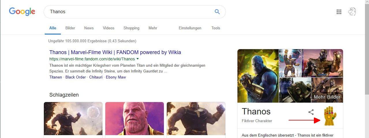 Googlesuche nach Thanos