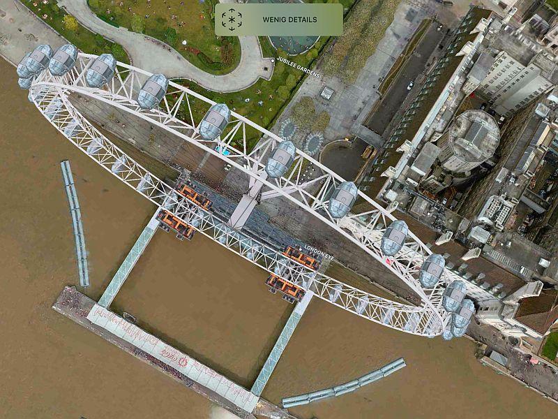 """Kartenausschnitt London mit """"London Eye"""" in der Flyover Ansicht"""