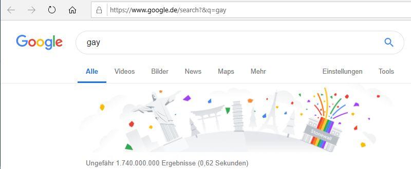 geänderte Suchleiste zum Pride Monat