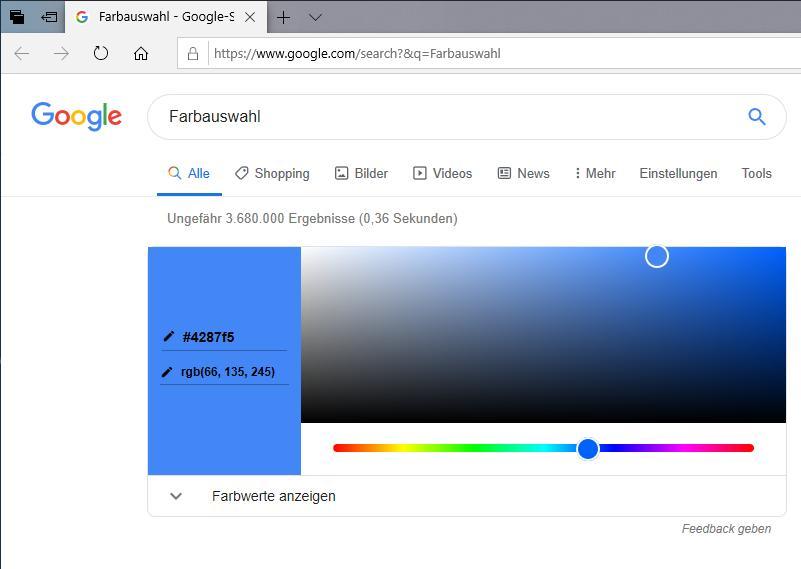Beispiel mit einer Farbauswahl