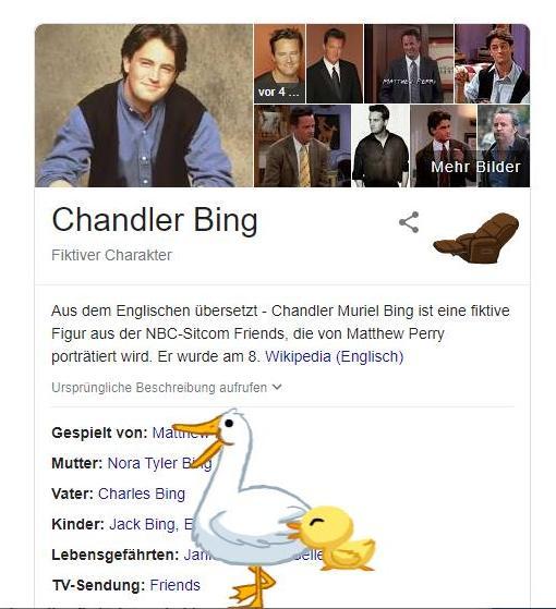 Google Suche nach Chandler Bing