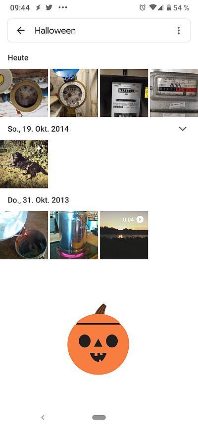 Screenshot der Foto-App mit einem Kürbis