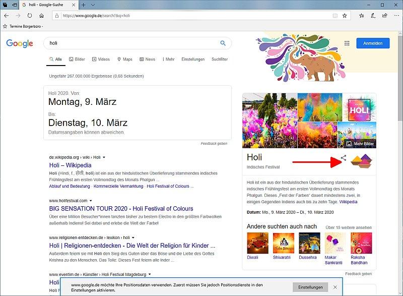Google Easteregg zum Holi-Fest