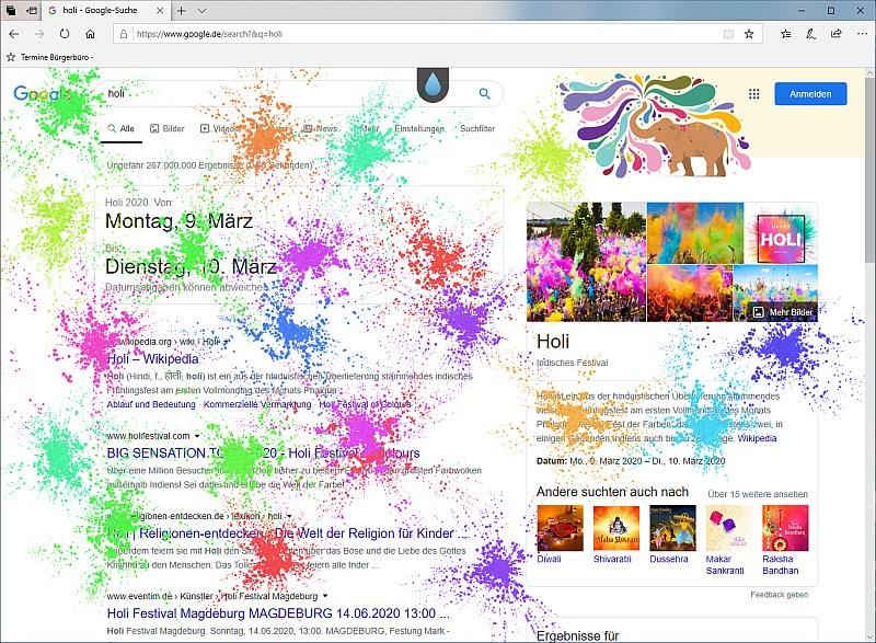 Jeder Klick auf den Desktop lässt einen neuen Farbklecks entstehen