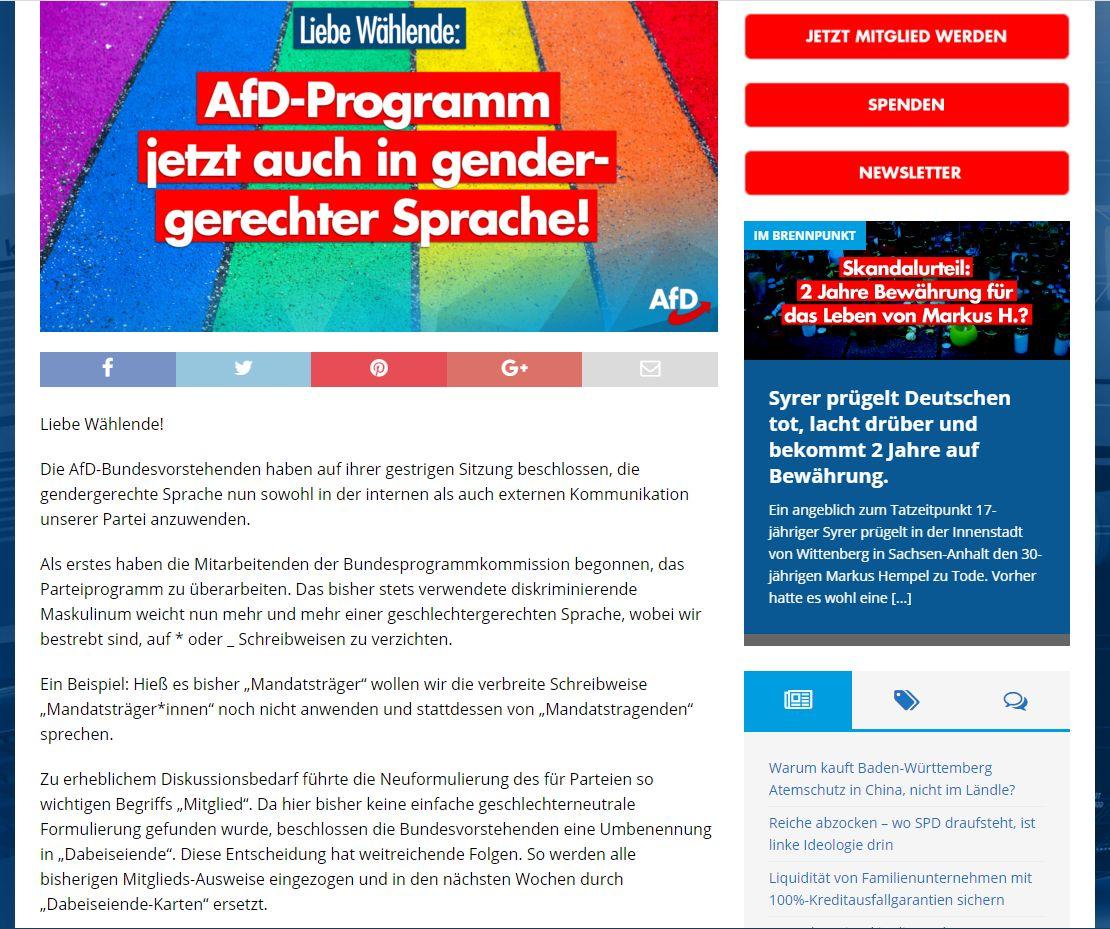 gendergerechter Sprache bei der AFD