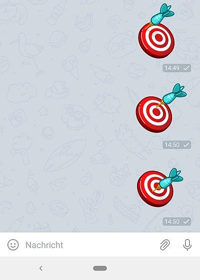 Ausschnitt aus dem Telegram Messenger mit verschiedenen Treffern des Dartpfeils
