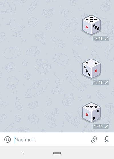 Ausschnitt aus dem Telegram Messenger mit verschiedenen Ergebnissen des Würfel-Emoji