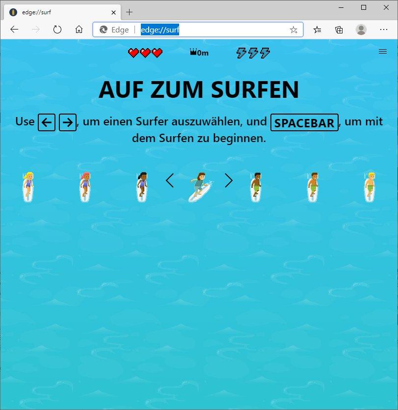 Minispiel nach Eingabe von edge://surf