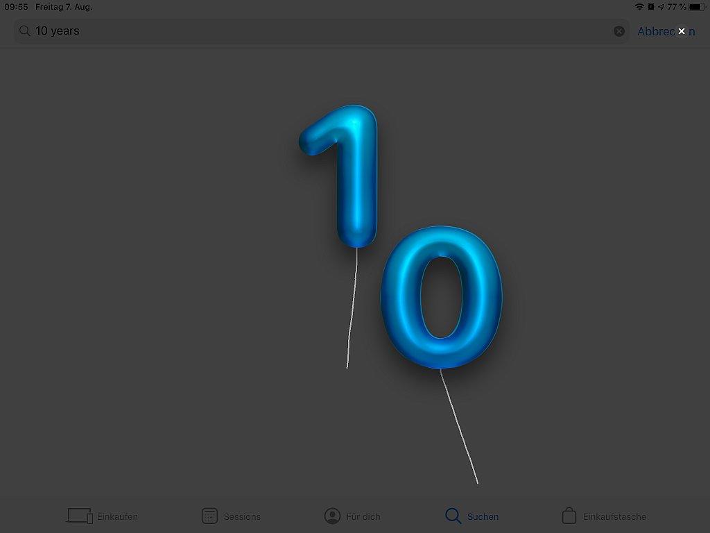 2 Luftballons bilden die Zahl 10