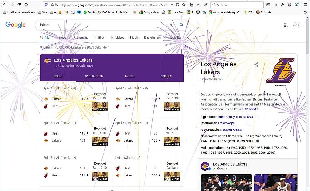 """Feuerwerk auf Google bei der Suche nach """"Lakers"""""""