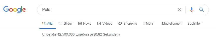 Googlesuche nach Pelé