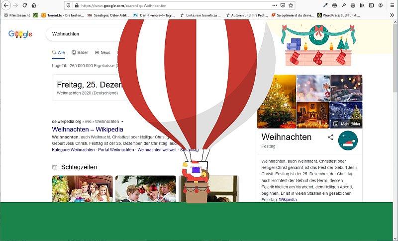 Die Seite vom Santa Tracker wird aufgerufen