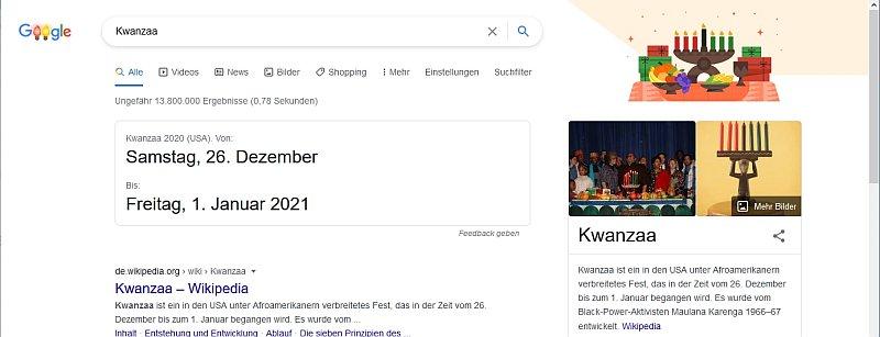 Google Suchseite bei der Suche nach Kwanzaa