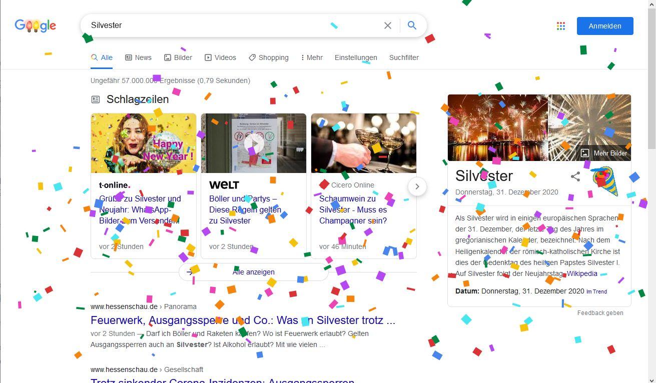 Googlesuche nach Silvester mit Konfettiregen