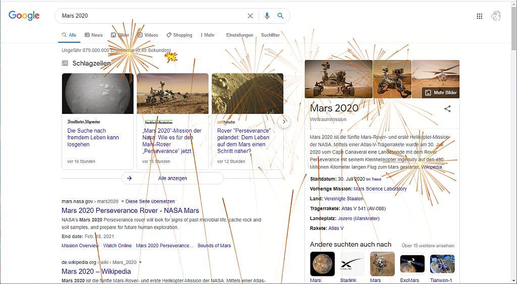 Feuerwerk bei der Suche nach Mars 2020