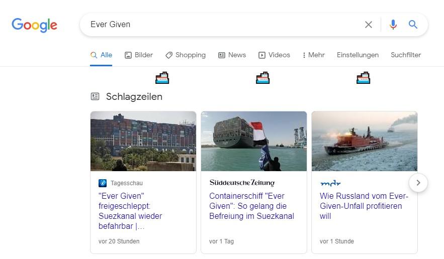 Google Suche nach Ever Given mit kleinen Schiffen unter der Suchleiste