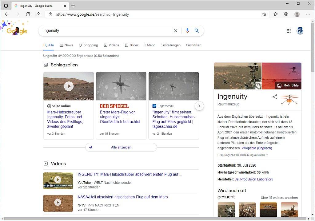 Google Suche nach Ingenuity