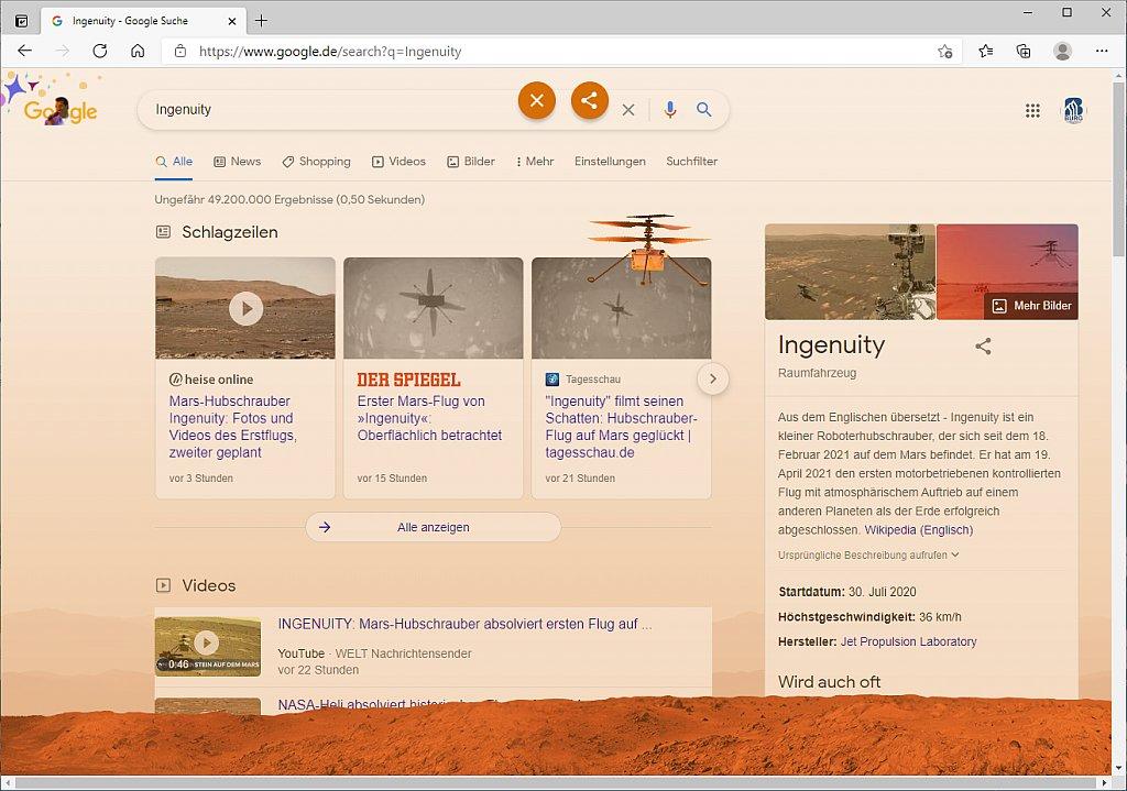 Die Googlesuche mit einem Marsboden, im orange-rote Licht mit einem fliegenden Marshubschrauber