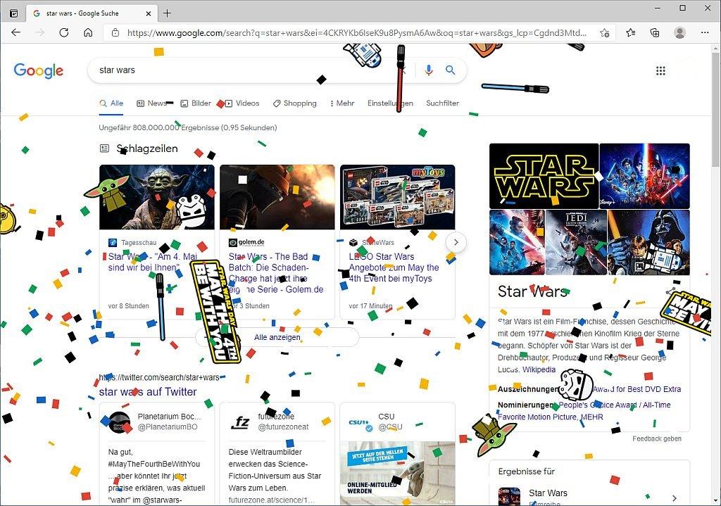 Konfettiregen in der Google- Suche zum Star Wars Day