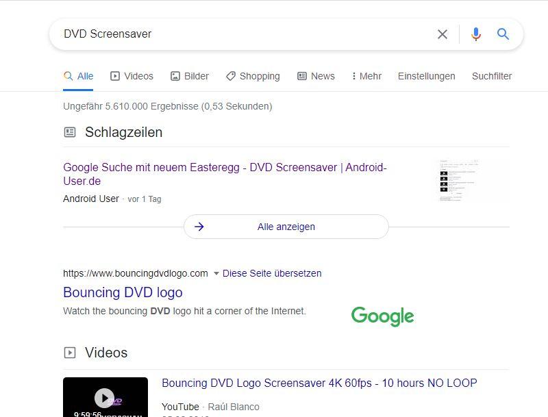 Das Google Logo wandert über den Bildschirm wie bei alten DVD Screensavern