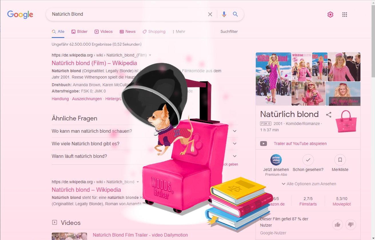 Das ganze Bild färbt sich rosa