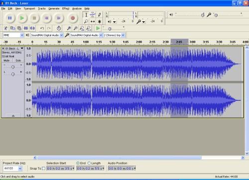 Audacity Editor mit der markierten Stelle